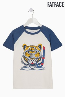 FatFace Natural 2 Way Sequin Tiger Graphic T-Shirt