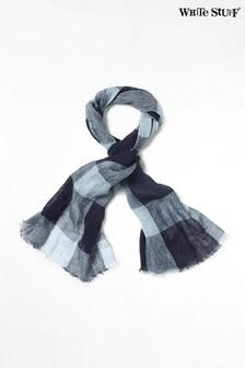 Синий льняной шарф с принтом White Stuff Steffie