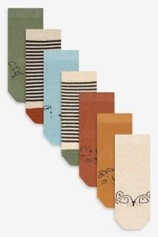 Набор носков из хлопковой пряжи с мультяшным принтом (7 пар) (Младшего возраста)