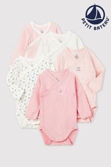 Petit Bateau Pink Long Sleeve Bodysuits Five Pack