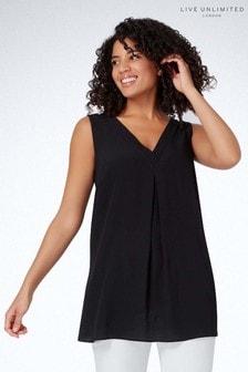 Live Unlimited Black Camisole With Neckline Detail