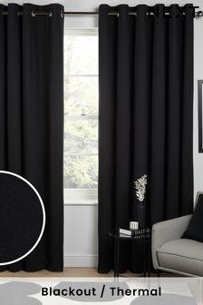 Черные хлопковые затемняющие шторы с термопрокладкой и люверсами