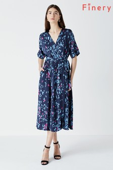 Finery Blue Sabine Wrap Dress