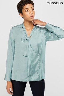 Monsoon Blue Sandi Wrap Blouse
