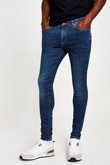 River Island Blue Dark Spray On Graph Jeans