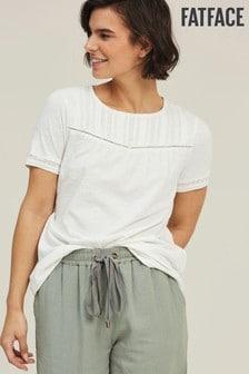 FatFace Sheree T-Shirt mit Spitze, elfenbein