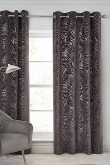 Charcoal Grey Cut Velvet Palm Leaf Eyelet Lined Curtains