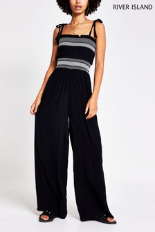 River Island Black Shirred Beach Jumpsuit