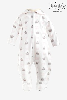 Rachel Riley Ivory Crown Embroidered Babygrow