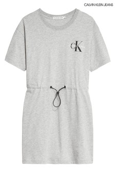 Calvin Klein Grey Monogram Drawstring Dress