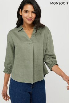 Monsoon Damen Cynthia Bluse, Grün