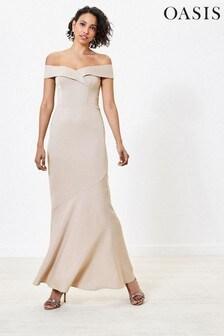 Oasis Gold Bardot Bridesmaid Dress