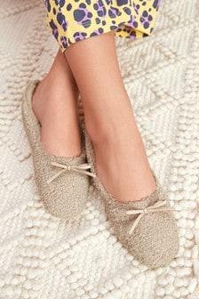 Pantofole a ballerina in sherpa