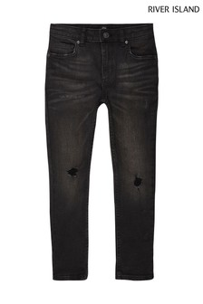 River Island Black Sid Ripped Washed Jeans