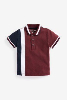 Трикотажная рубашка поло комбинированной расцветки с коротким рукавом (3 мес.-7 лет)