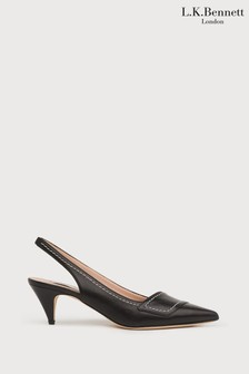 L.K.Bennett Black Heidi Black Leather Slingbacks