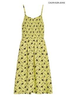 Calvin Klein Midikleid mit durchgehendem Palmenmuster, Gelb