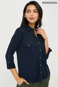 Monsoon Ladies Leah Utility-Shirt aus Leinen, marineblau