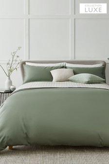 Sage Green Collection Luxe 400 Thread Count 100% Egyptian Cotton Sateen Duvet Cover And Pillowcase Set