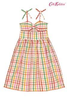 Cath Kidston Cream Strawberry Gingham Kids Midi Dress