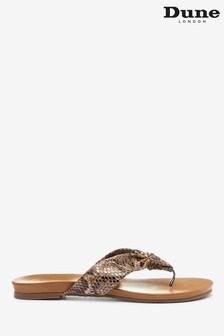 Dune London Lyrikal Natural Reptile Print Leather Tubular Flip Flops