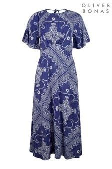 Oliver Bonas Blue Scarf Print Blue Maxi Dress