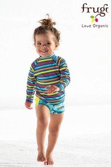 قطعة سباحة سفلية زرقاء حوت قوس قزح للأطفال بعامل وقاية من أشعة الشمسOeko Tex 50+منFrugi