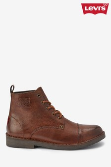 Levi's® Brown Leather Lace-Up Boots