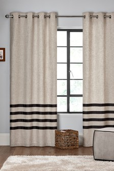 Brooklyn Stripe Eyelet Lined Curtains