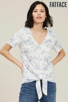 חולצת טי שלFatFace דגםAvril בצבע טבעי עם הדפס פלמינגו