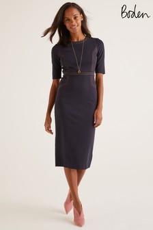 Boden Blue Kate Stitch Detail Ponte Dress
