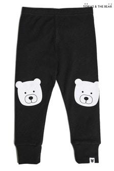 Tobias & The Bear - Zwarte biologisch katoenen legging met beerportret