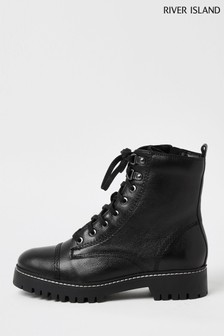 River Island Black 1043 Lace Up Hiker Boots