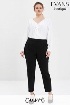 מכנס שחור ללא רכיסה עם חפתים צמודים במידות גדולות של Evans