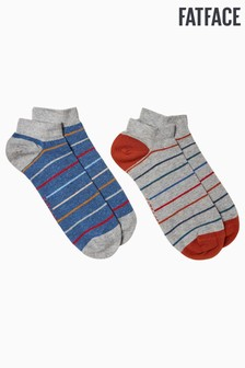 FatFace Grey George Trainer Socks Two Pack