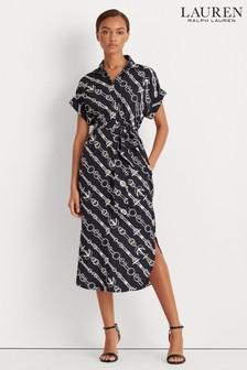 Lauren Ralph Lauren Navy Chain Print Cicero Shirt Dress