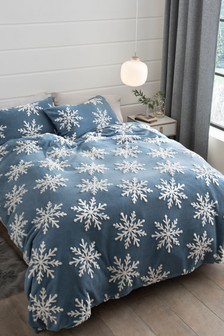 Fleece Jacquard Snowflake Duvet Cover and Pillowcase Set