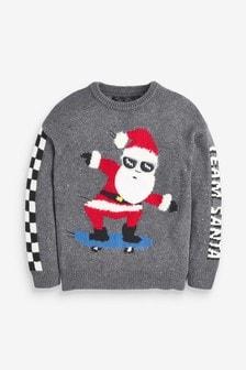 Sweter bożonarodzeniowy z Mikołajem na łyżwach (3-16 lat)