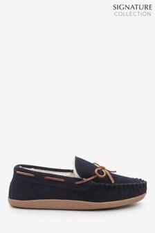 Замшевые мокасины-тапочки со шнуровкой Signature