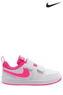 Nike White/Pink Pico 5 Junior Trainers