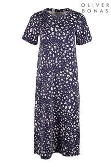 Oliver Bonas Blue Animal Print Navy Blue Midi Dress