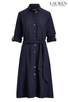 Rochie cămașă Lauren Ralph Lauren Karalyn bleumarin cu cordon în talie