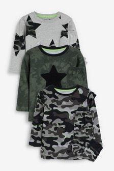 Набор из 3 пижам с камуфляжным и звездным принтом  (9 мес. - 12 лет)