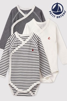 Petit Bateau Navy Stripe Iconic Rib Long Sleeve Bodysuits Three Pack