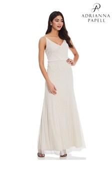 Adrianna Papell White Beaded Blouson Gown