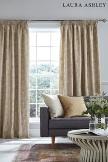 Laura Ashley Gold Evelyn Pencil Pleat Curtains