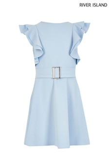 River Island Blue Frill Sleeve Dress