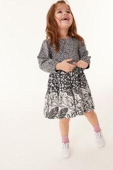 Gestuftes Kleid aus Bio-Baumwolle mit Mustermix (3Monate bis 7Jahre)