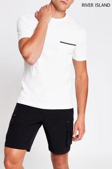 River Island Ecru Clean Pocket T-Shirt
