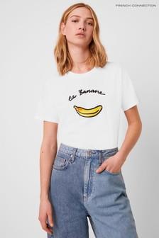 T-shirt coupe boyfriend French Connection La Banane blanc